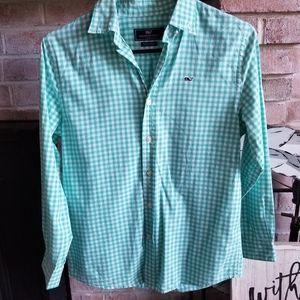 VINEYARD VINES boys gingham button whale shirt
